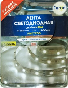 LS606, комплект светодиодной ленты с драйвером 90W, 60SMD(5050)/m 14.4W/m 12V белый на белом 5 метров
