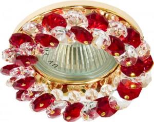 CD4141, светильник потолочный, MR16 G5.3 с красным стеклом, золото, с лампой