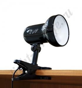 DE1600, светильник на прищепке, ESB 9W 230V Е27 черный c лампой