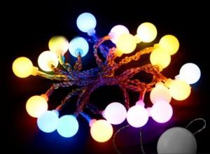 """CL555, гирлянда """"шарики"""" на присоске, цвет свечения - мульти, работает от батареек"""