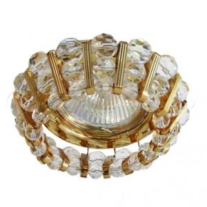 CD2121, светильник потолочный, MR16 G5.3 с прозрачным стеклом, золото, с лампой