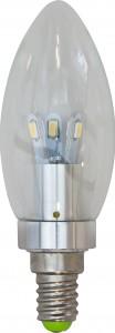 LB-70, лампа светодиодная, 6LED(3.5W) 230V E14 6400K свеча хром