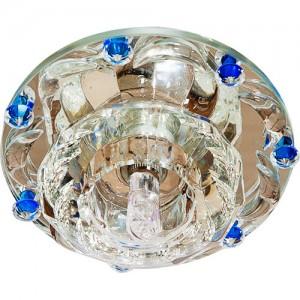 1580, светильник потолочный встраиваемый, JCD9 Max35W G9 прозрачный-голубой