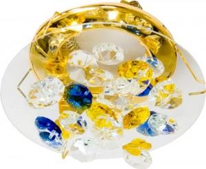 CD4204, светильник потолочный, R16 50W G5.3 желтый-голубой-прозрачный, золото (с лампой)