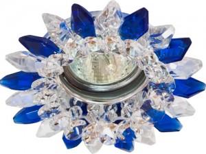 CD2315, светильник потолочный, MR16 G5.3 с прозрачным-синим стеклом, хром, с лампой