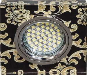 8787-2, светильники светодиодный встраиваемый, 15*2835 SMD MR16 12V 50W G5.3, черный, серебро