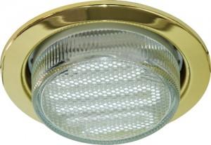 DL53, светильник потолочный встраиваемый с энергосберегающей лампой, 11W 230V  GX53, с лампой, золото