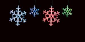 CL108 Гирлянда ленточная светодиодная снежинки, многоцветная (RGB)