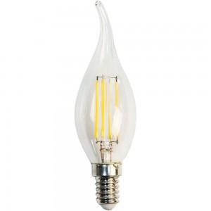 LB-59, 4000К 4LED(5W) 230V E14 филамент свеча на ветру, лампа светодиодная
