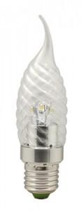 LB-78, лампа светодиодная, 6LED(3.5W) 230V E27 2700K свеча на ветру хром