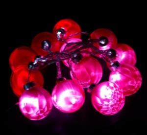 """CL52, гирлянда """"шарики"""", цвет стекла - красный, диаметр 57мм"""