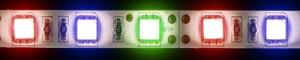 LS607, светодиодная лента влагозащищенная, цвет свечения: красный-зеленый-синий, 5m, 7.2W/m, белое основание