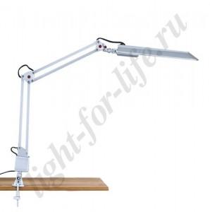 DE1116, настольная лампа на струбцине, ESТ 11W 230V G23 серебро с лампой